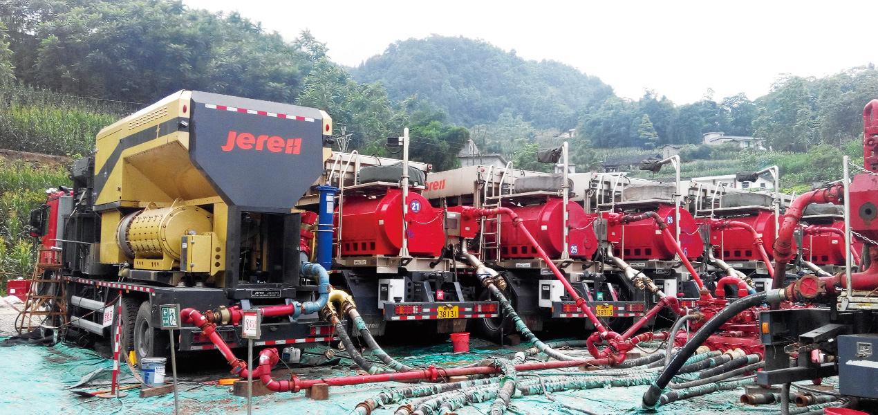Jereh 4500 turbine-driven frac pumper helps the shale gas fracturing operation.