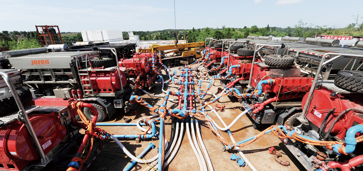 Jereh 2500 fracturing unit helps the shale gas operation #8 ultradeep well in China.